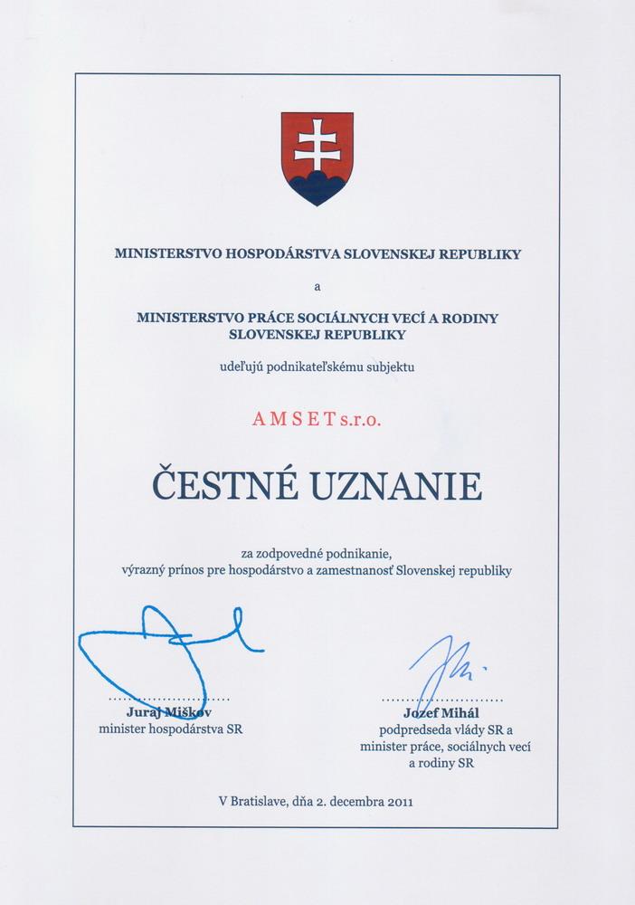 Čestné uznanie MH SR – Amset s.r.o.